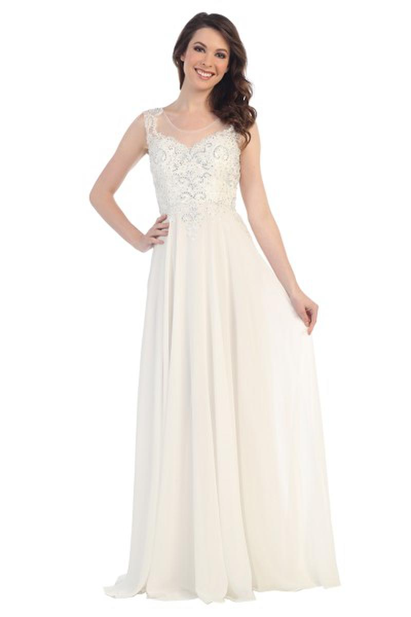 CINDY COLLECTION USA - Embellished Chiffon Illusion Gown