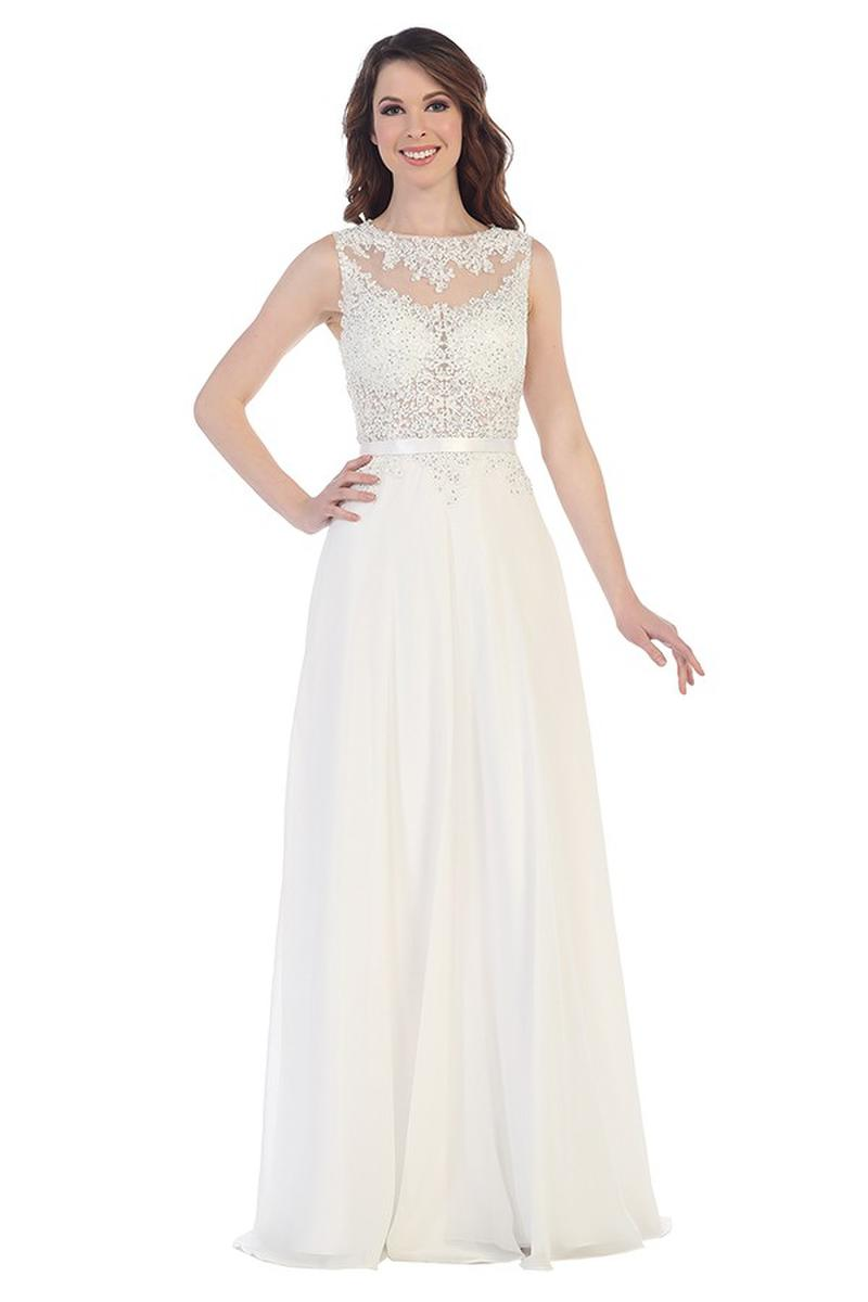CINDY COLLECTION USA - Beaded Lace & Chiffon lllusion Gown