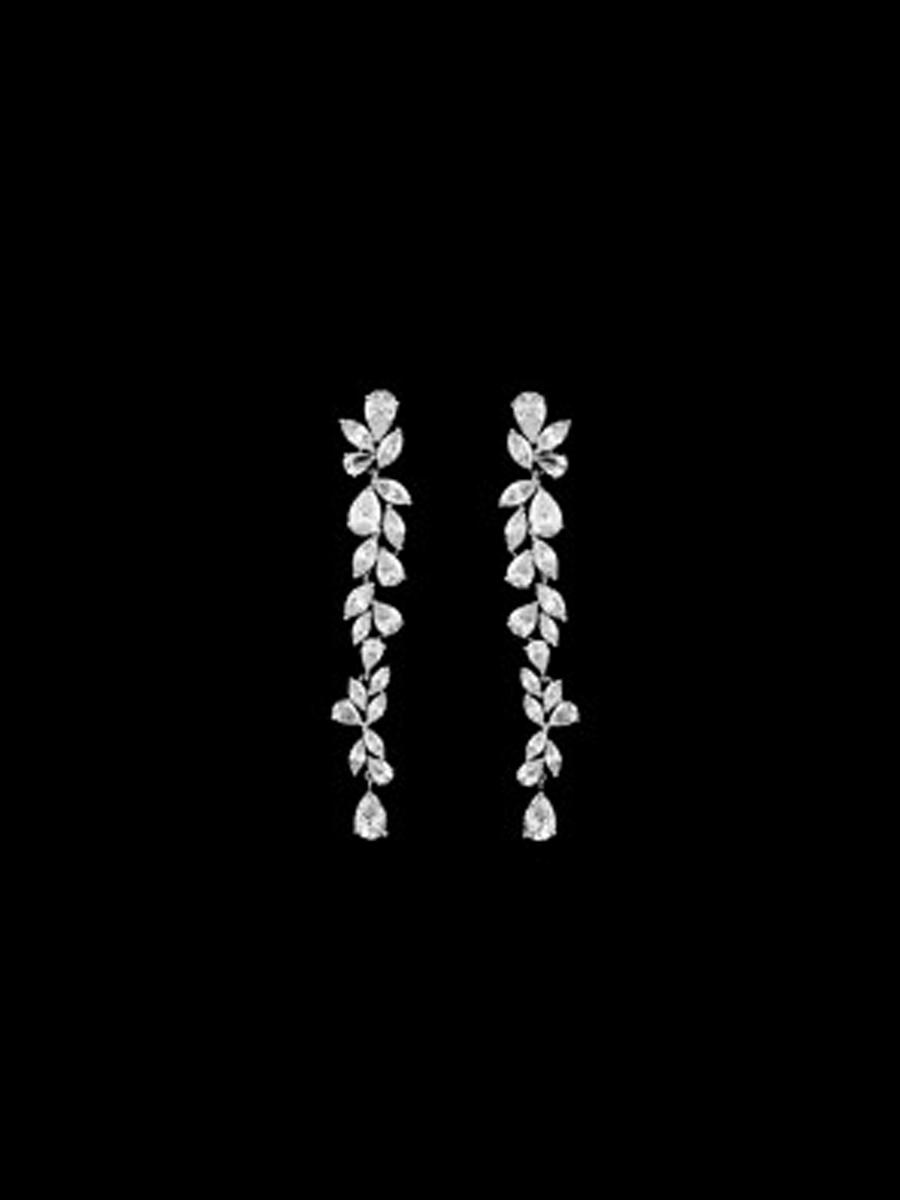 DS BRIDAL    DAE SUNG . - Scattered Long Cubic Zirconia Drop Earrings