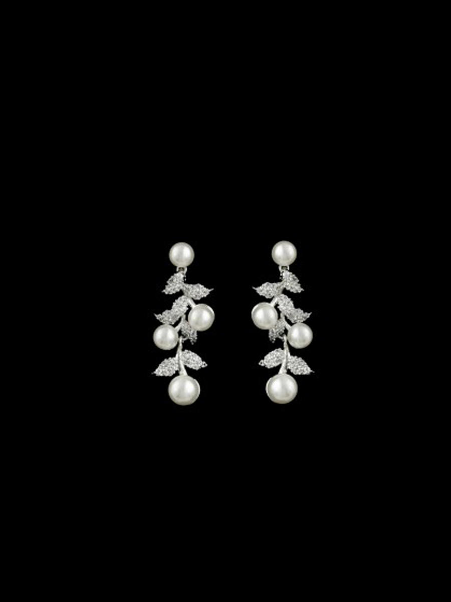 DS BRIDAL    DAE SUNG . - Pearl With Cubic Zirconia Earring