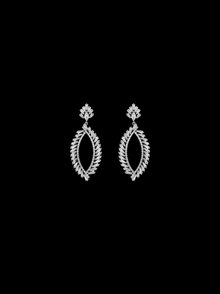 DS BRIDAL    DAE SUNG . - Cubic Zirconia Oval Drop Earring