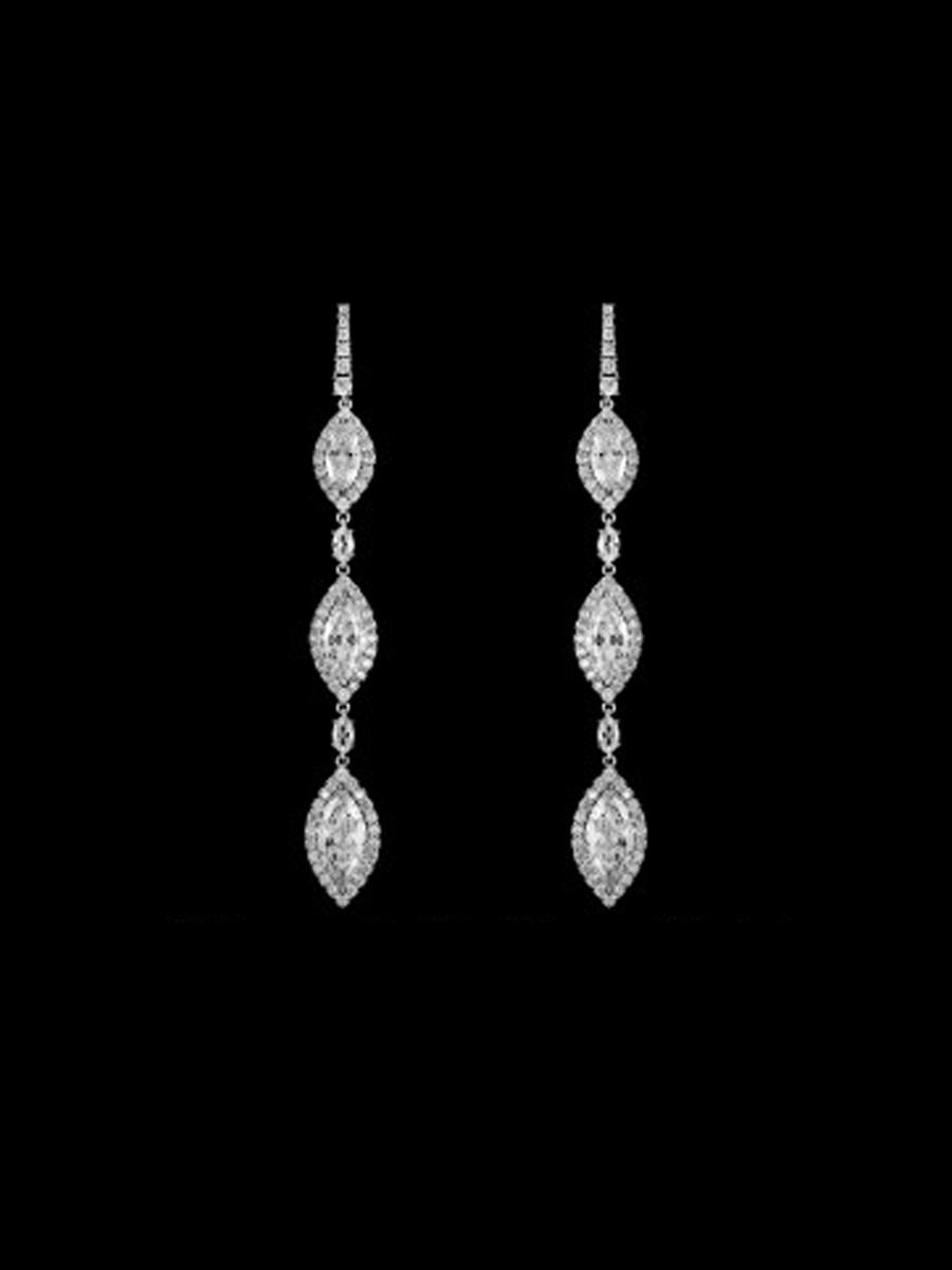 DS BRIDAL    DAE SUNG . - Three-Stone Marquise Cut Drop Earrings