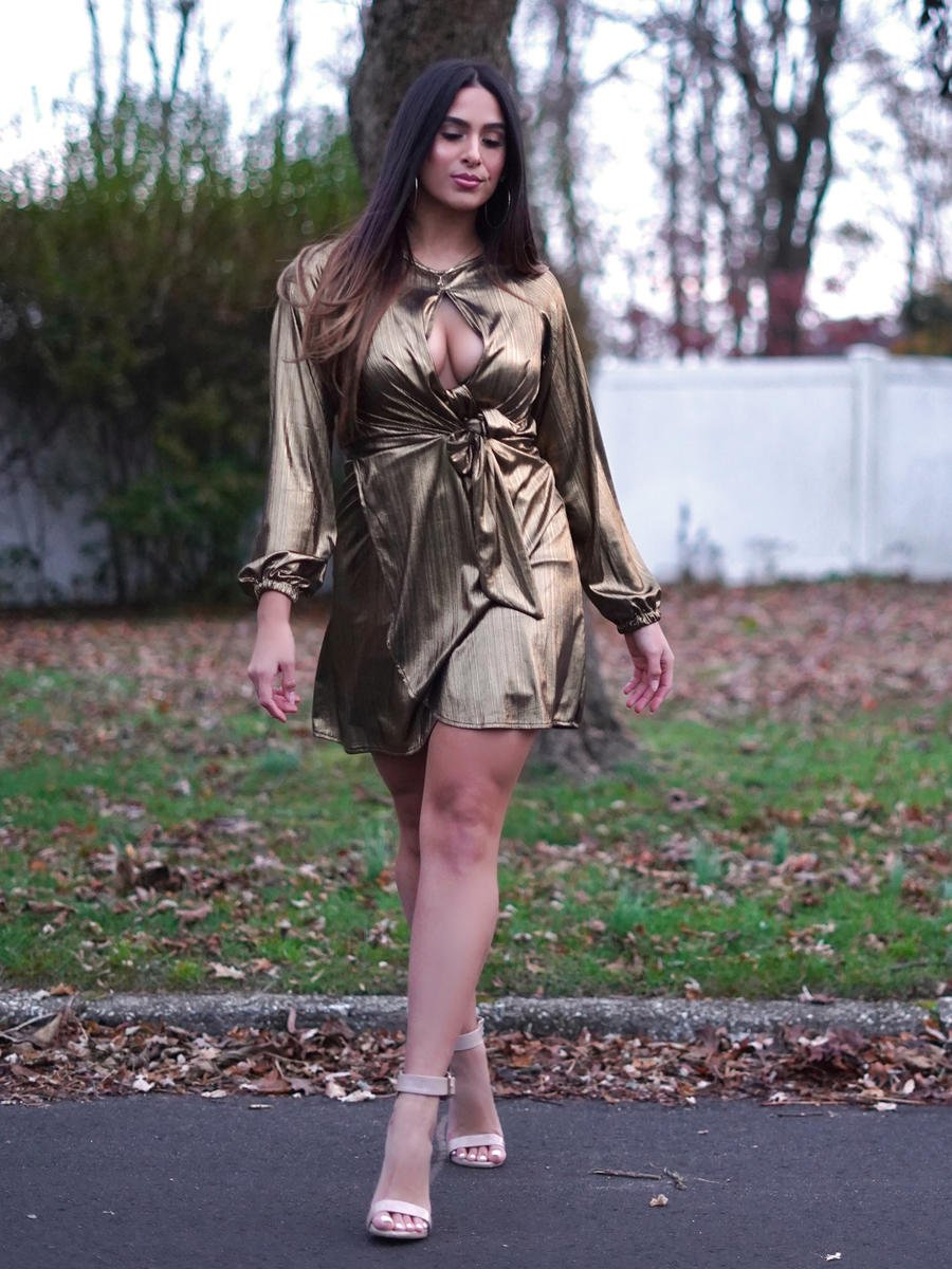 Dance and Marvel - Long Sleeve Metallic Satin Dress