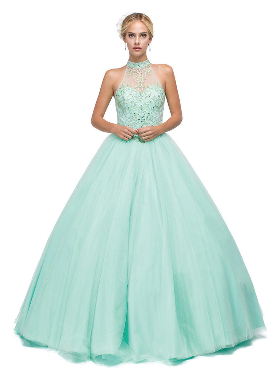 Dancing Queen - Beaded High Neck Illusion Ball Gown