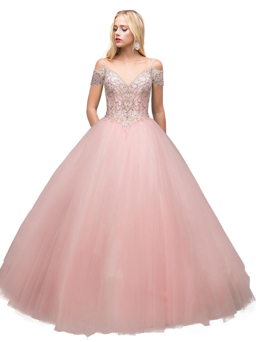 Dancing Queen - Cold Shoulder Beaded Ballgown