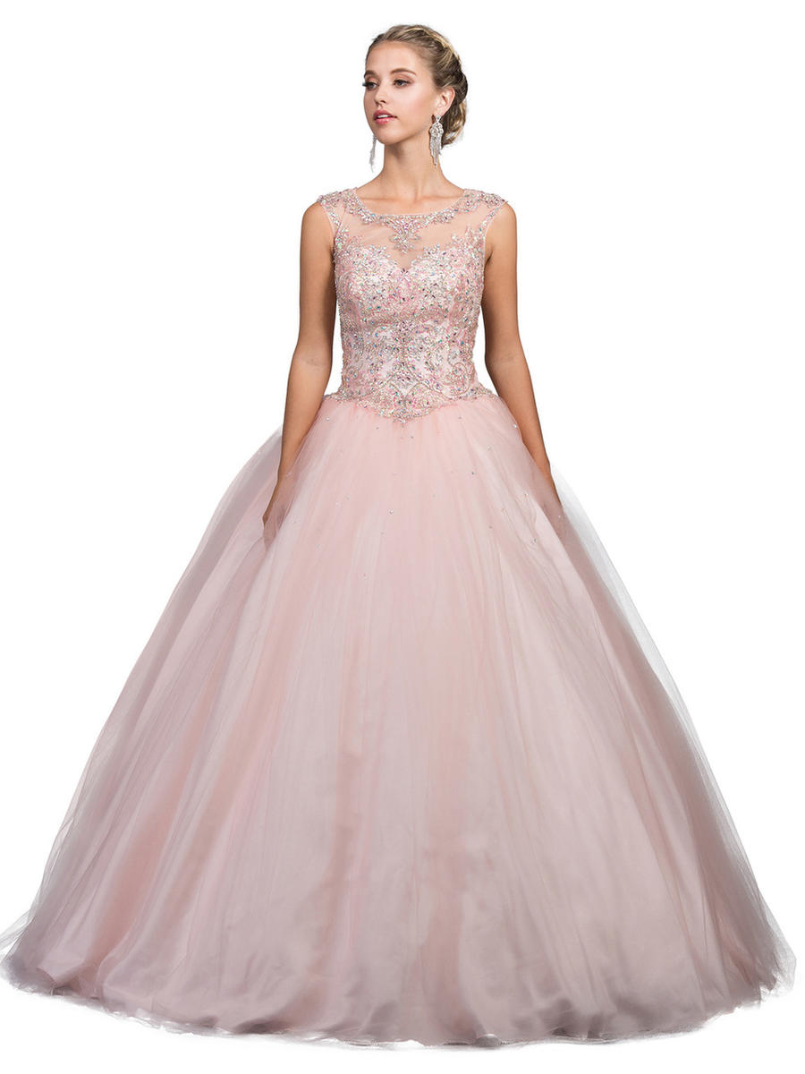 Dancing Queen - Sleeveless Beaded Illusion Ball Gown