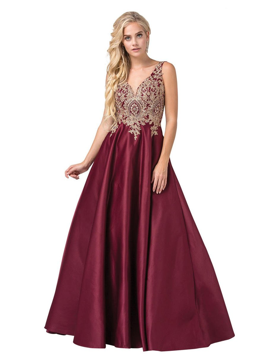 Dancing Queen - Satin Gown Embroidered Bodice-Shawl