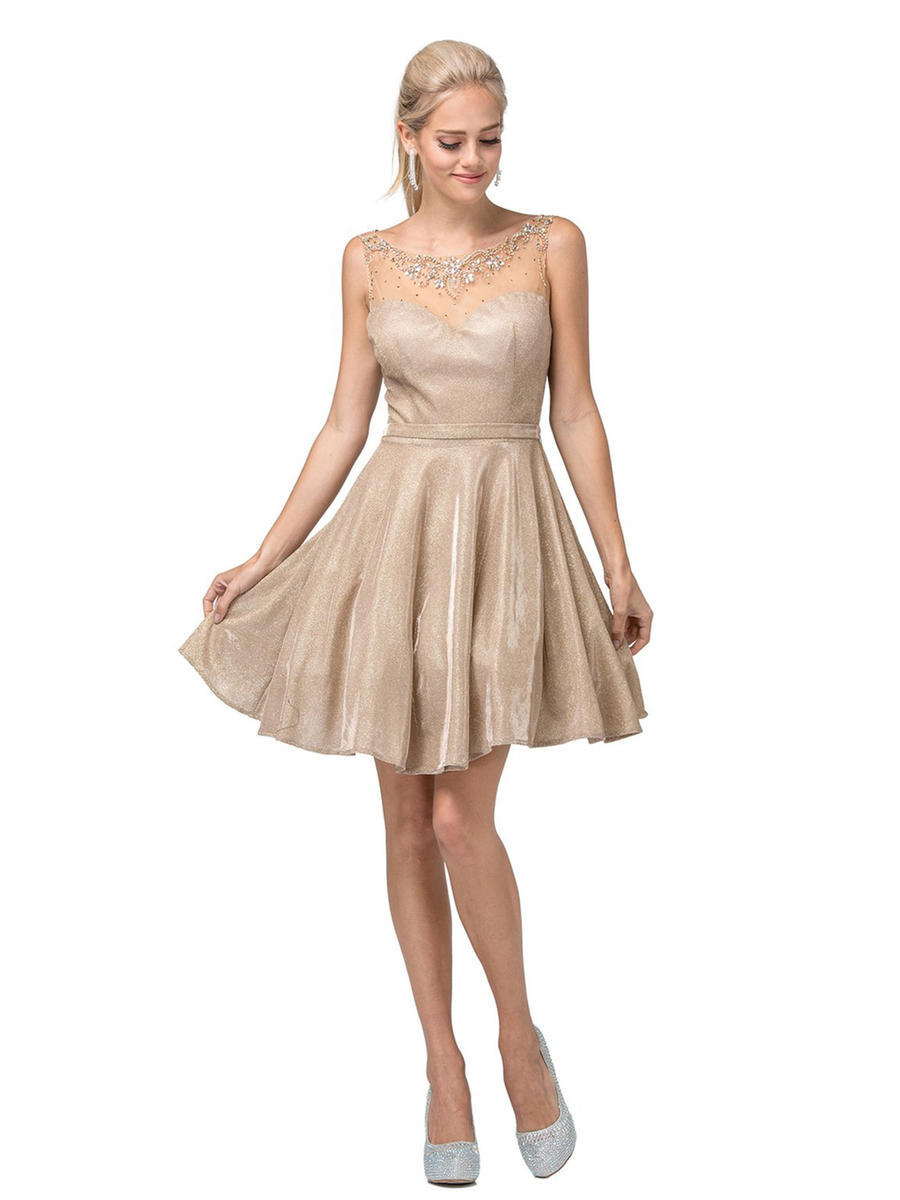 Dancing Queen - Metallic Dress-Sheer Bead Bodice