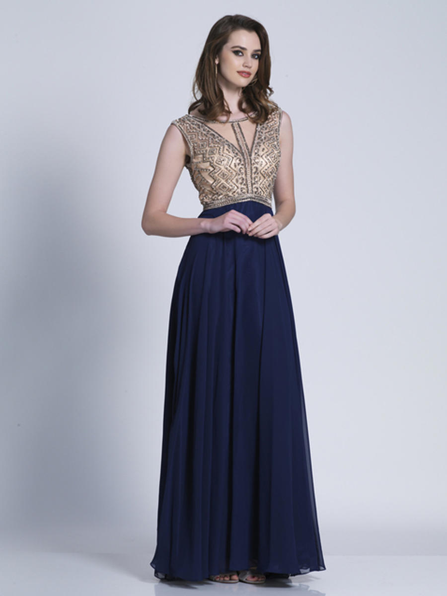 Dave and Johnny - Beaded Chiffon V-Back Illusion Gown