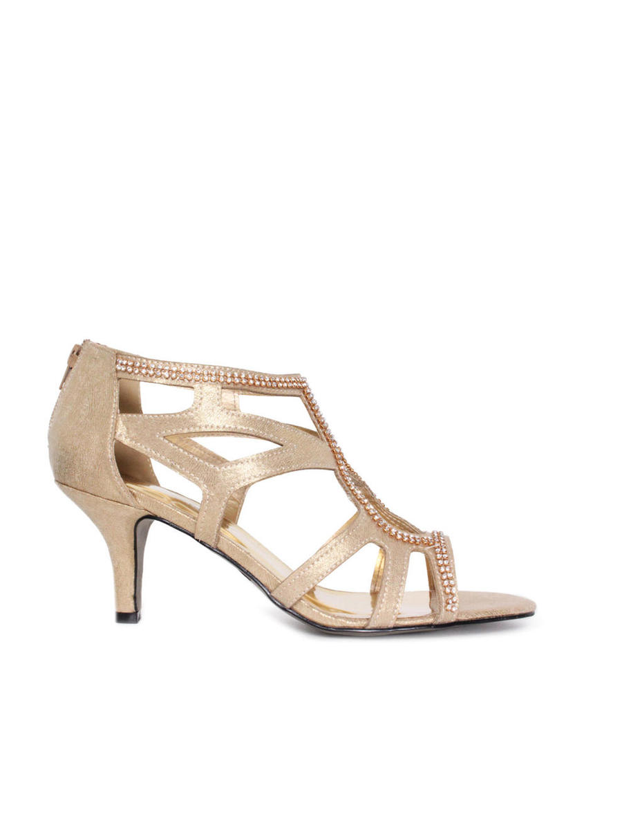 EASY STREET        brenda cash - Embellished Caged Low Heel Sandal