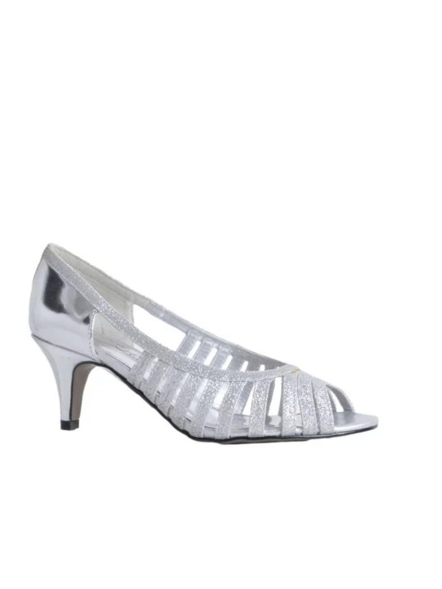 EASY STREET - Metallic Caged Glitter Low Heel Open Toe Pump