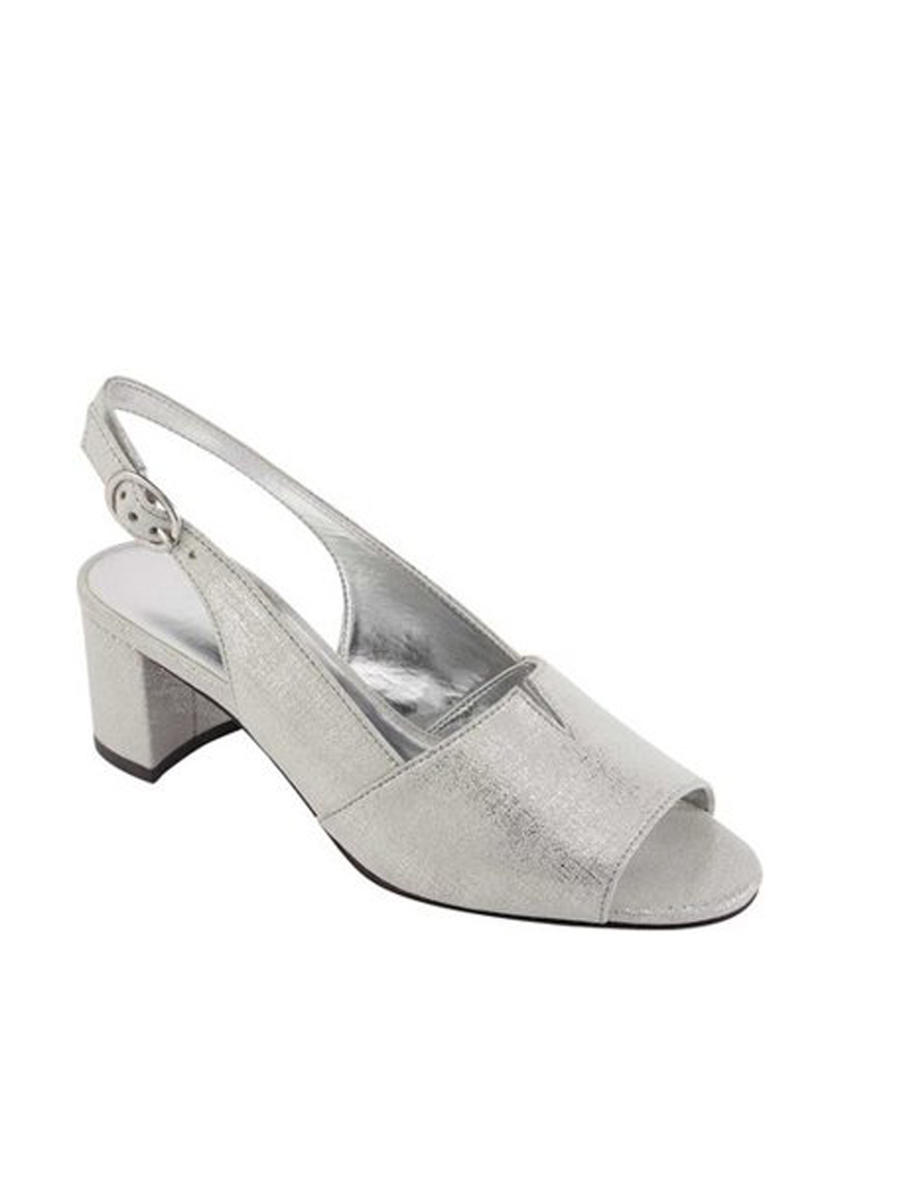 DAVID TATE - Chunky Low Heel Sling Soft Metallic