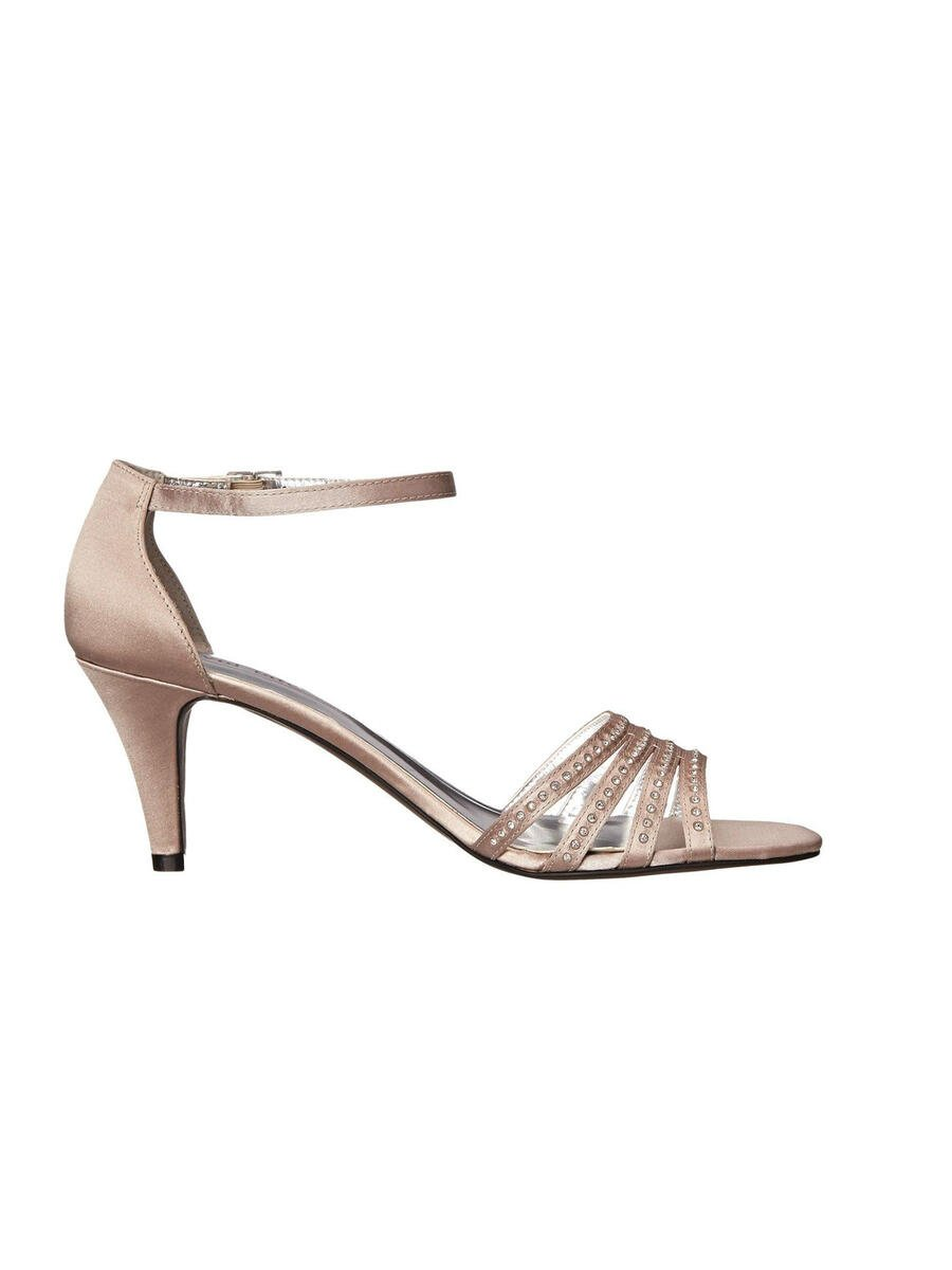DAVID TATE - Embellished Satin Open Toe Ankle Strap Pump