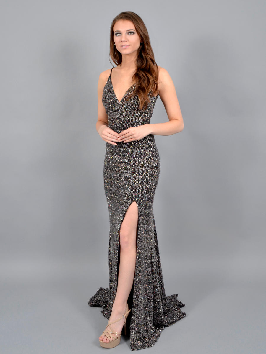 DEAR MOON - Metallic Spaghetti Strap Gown J326959
