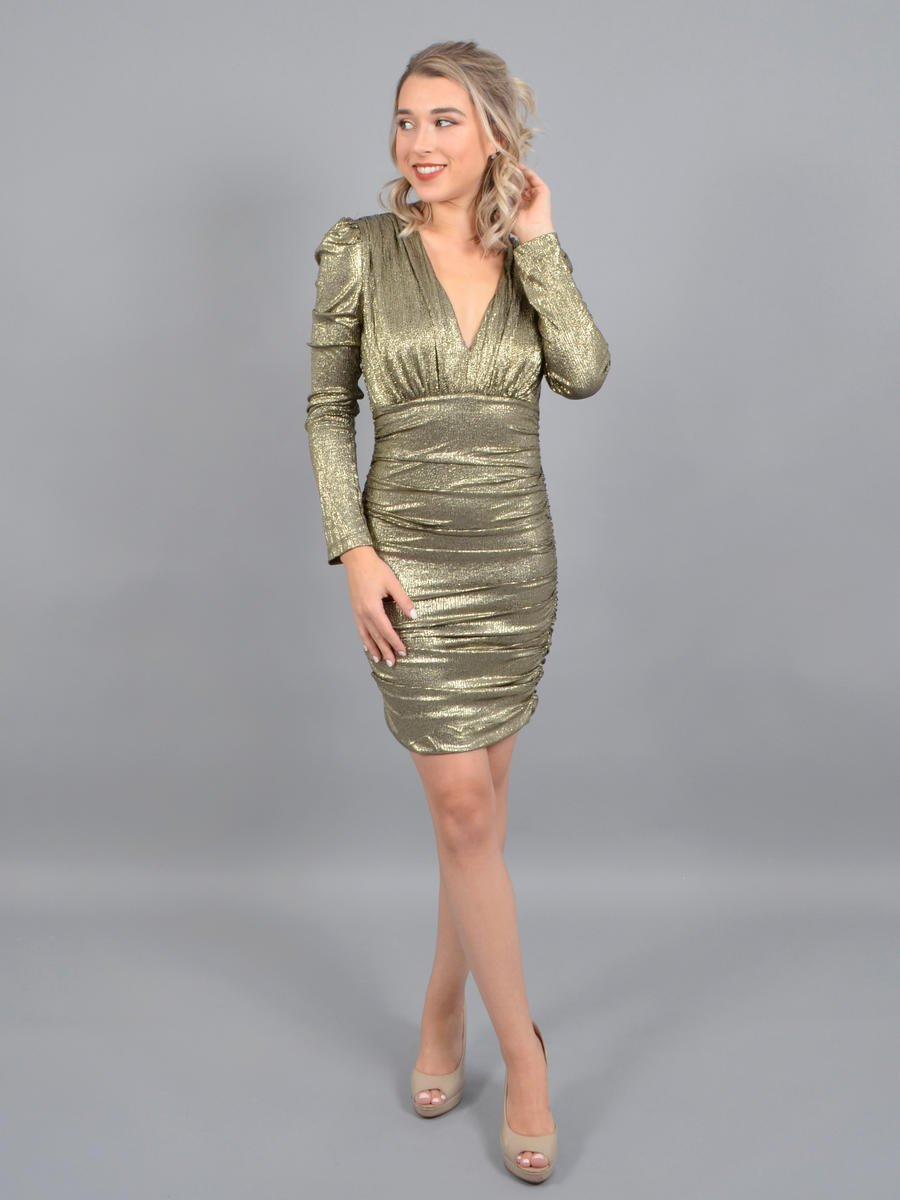 DO + BE - Satin Metallic Long Sleeve Dress