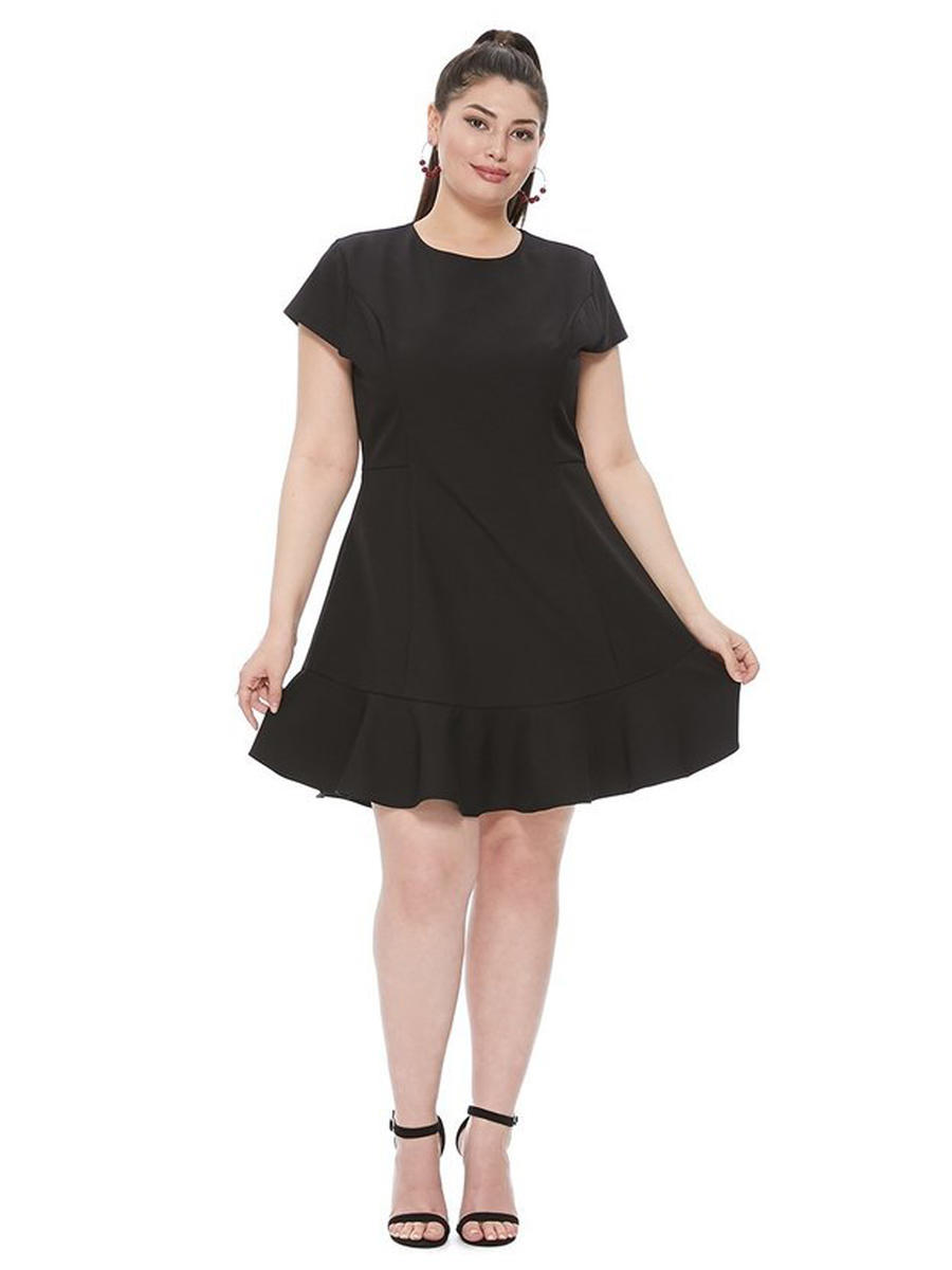 DO + BE - Ruffle Hem Lycra Dress