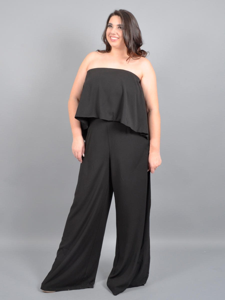 DO + BE - Satin Strapless Popover Jumpsuit
