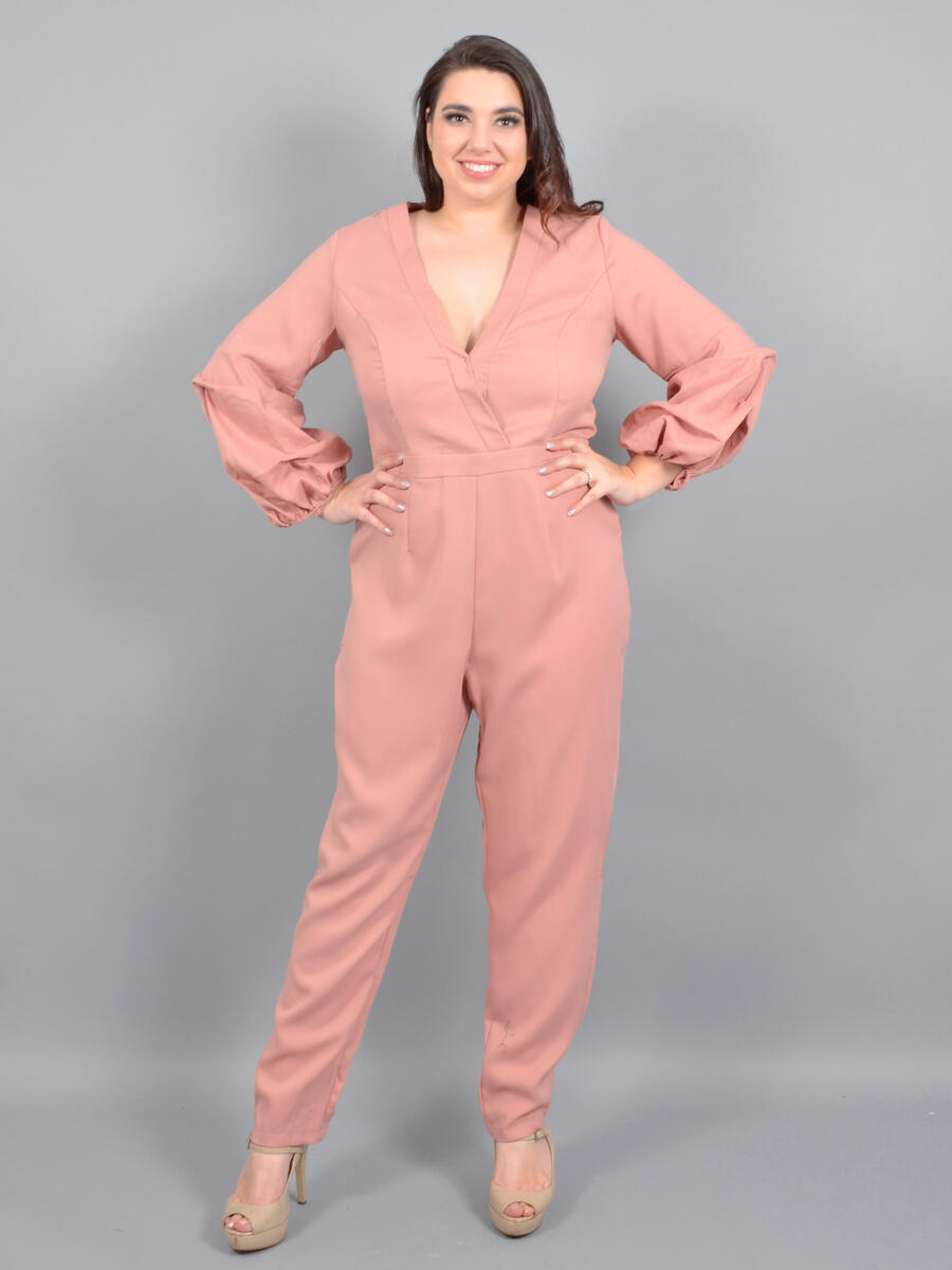 DO + BE - Satin Puff Sleeve Jumpsuit