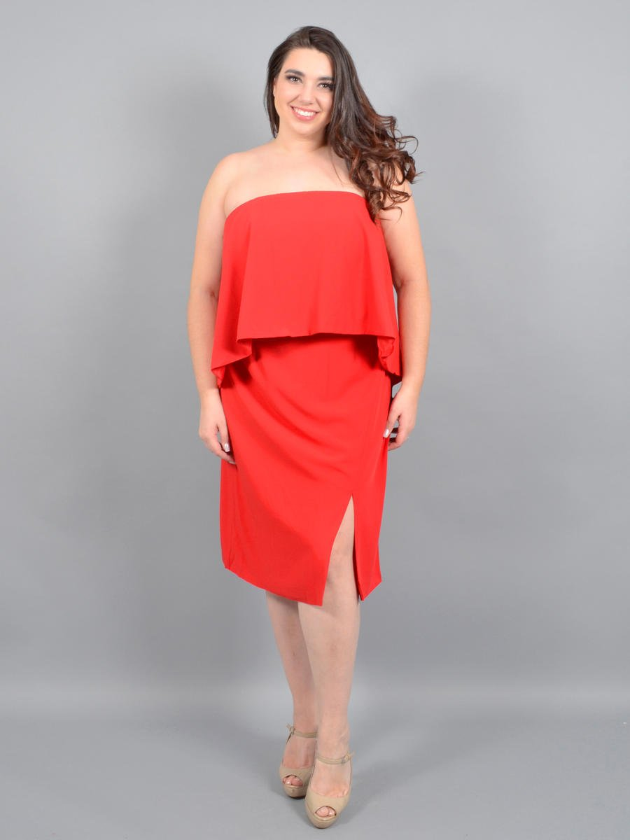 DO + BE - Satin Strapless Popover Dress