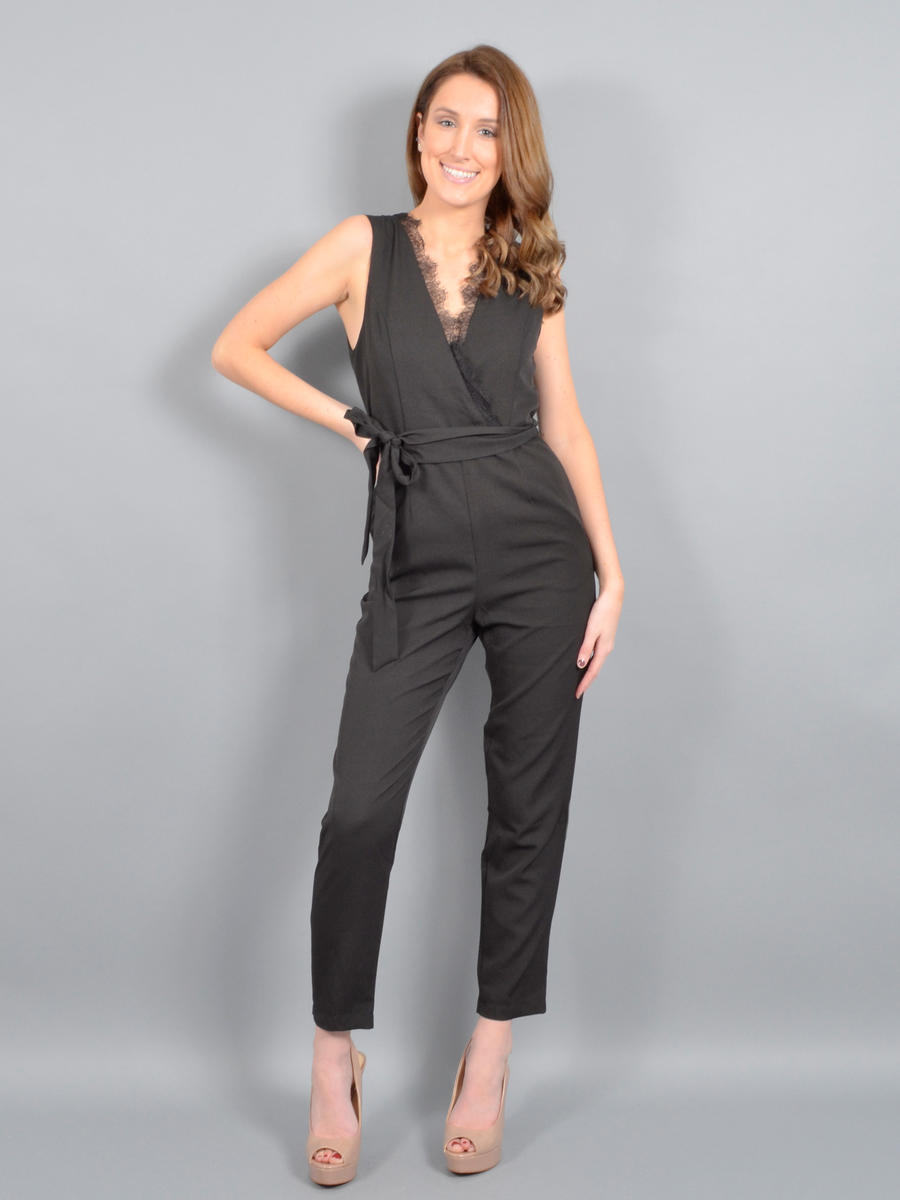DO + BE - Lace Wrap V-Neck Jumpsuit