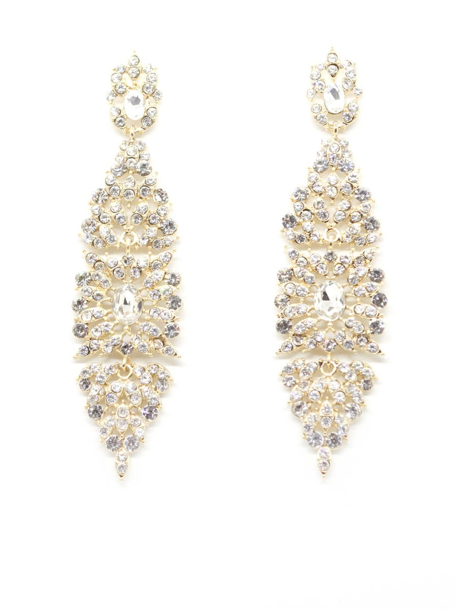 DS BRIDAL    DAE SUNG . - Vintage Inspired Rhinestone Chandelier Earrings