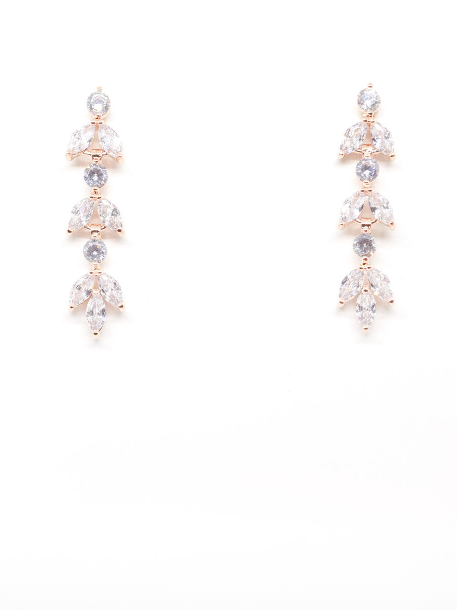 DS BRIDAL    DAE SUNG . - Cubic Zirconia Leaf Shape Earring Drop