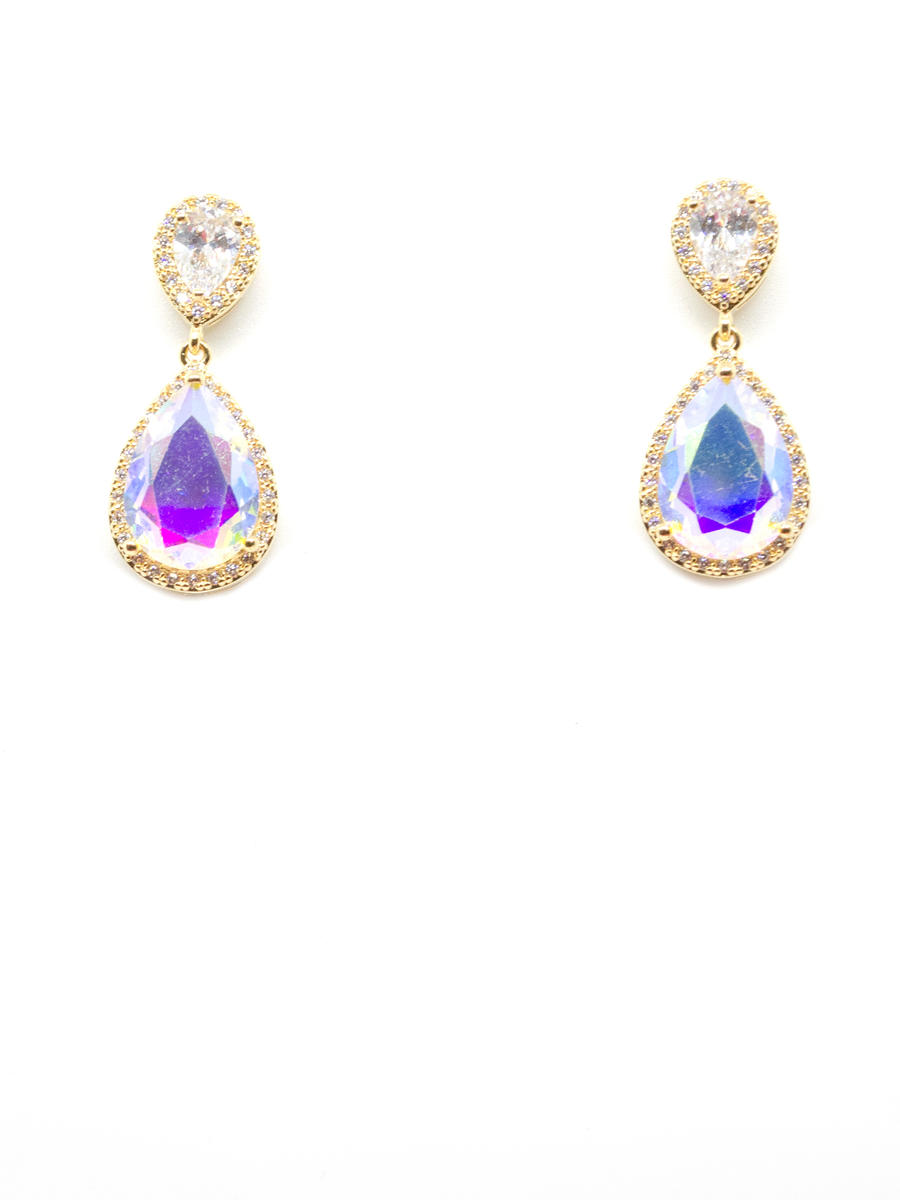 DS BRIDAL    DAE SUNG . - Cubic Zirconia Pear Cut Drop Earrings