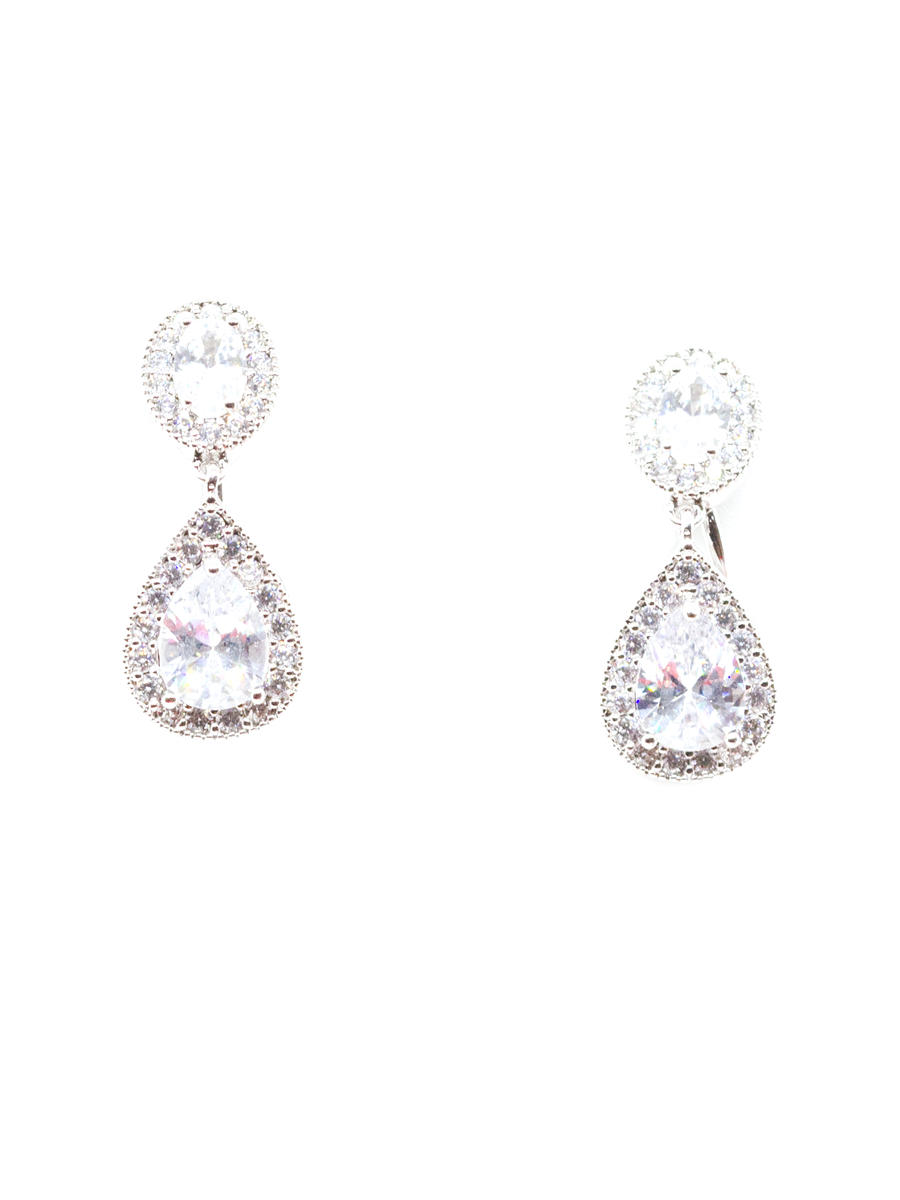 DS BRIDAL    DAE SUNG . - Pear & Oval Cut Cubic Zirconia Drop Earrings