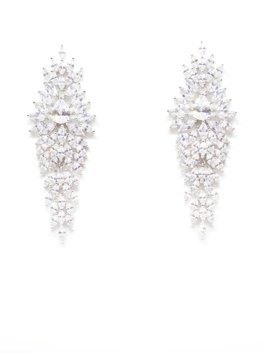 DS BRIDAL    DAE SUNG . - Pave Cubic Drop Earring