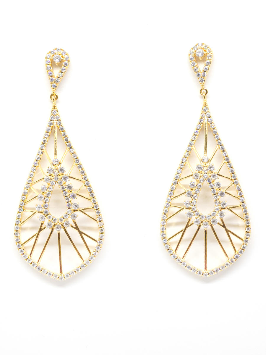 DS BRIDAL    DAE SUNG . - Cubic Large Oval Drop Earring