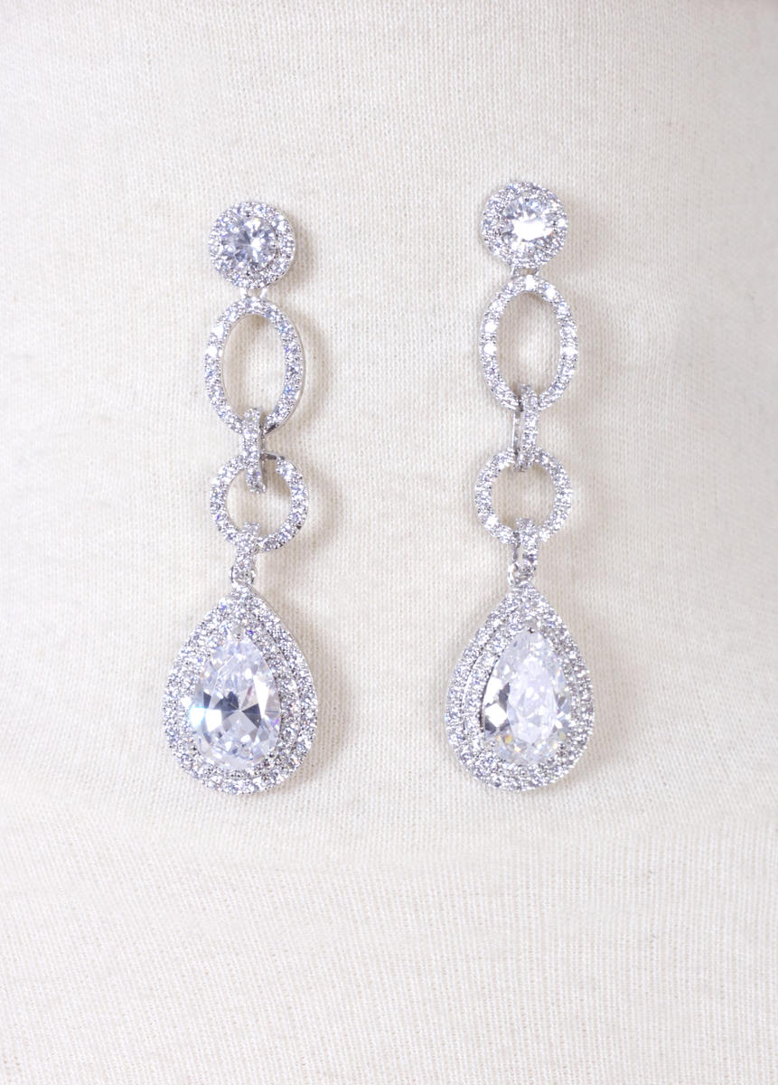 DS BRIDAL    DAE SUNG . - Cubic Zirconia Tear Drop Earrings