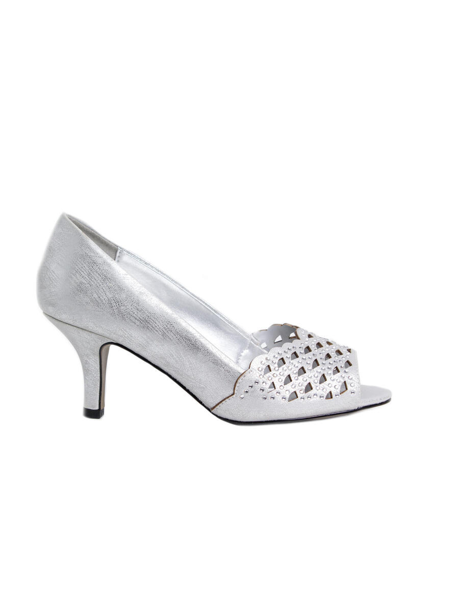 EASY STREET - Metallic Open Toe Lasercut Low Heel Pump