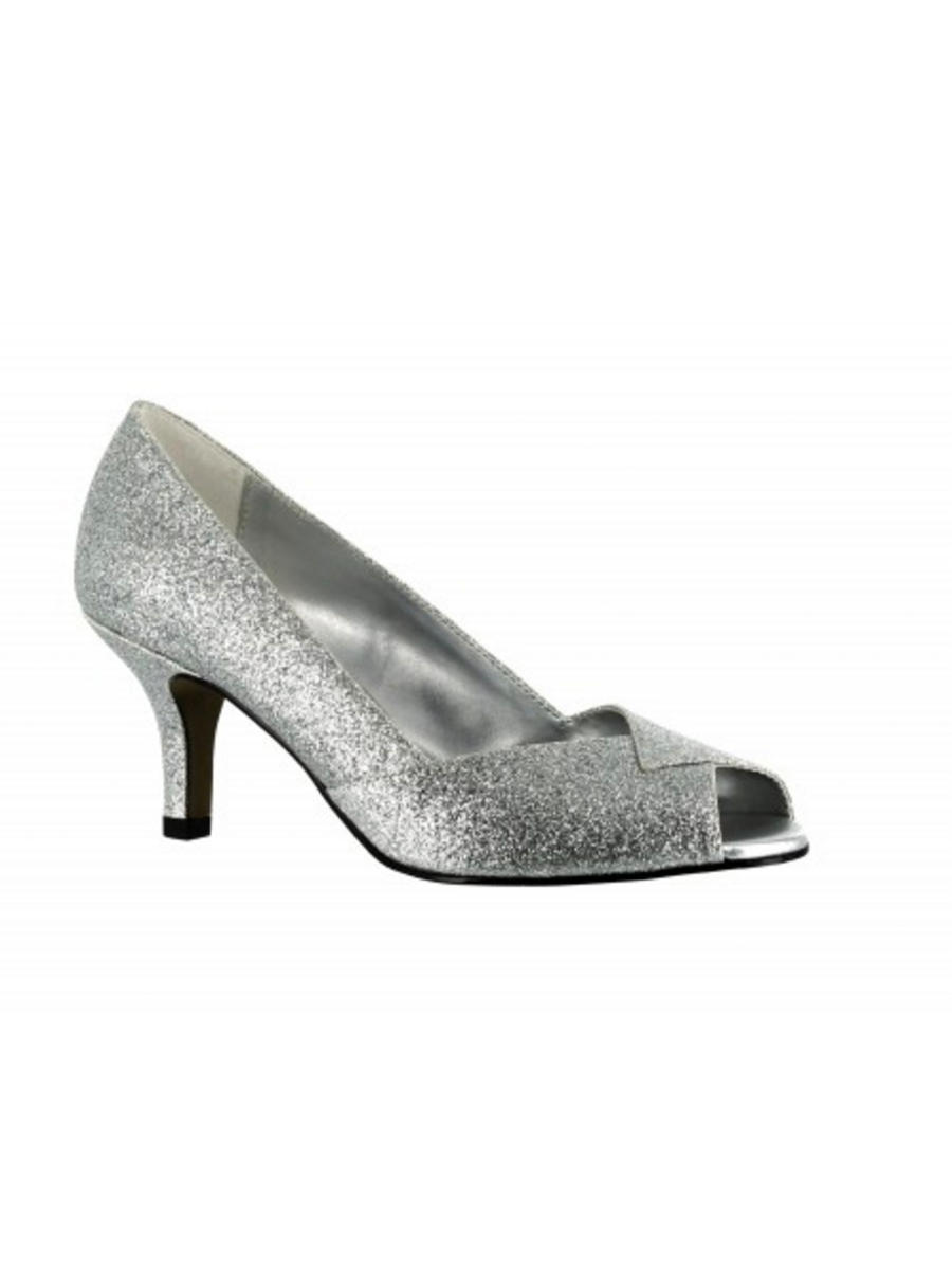 EASY STREET - Mid Heel Glitter Open Toe Pump