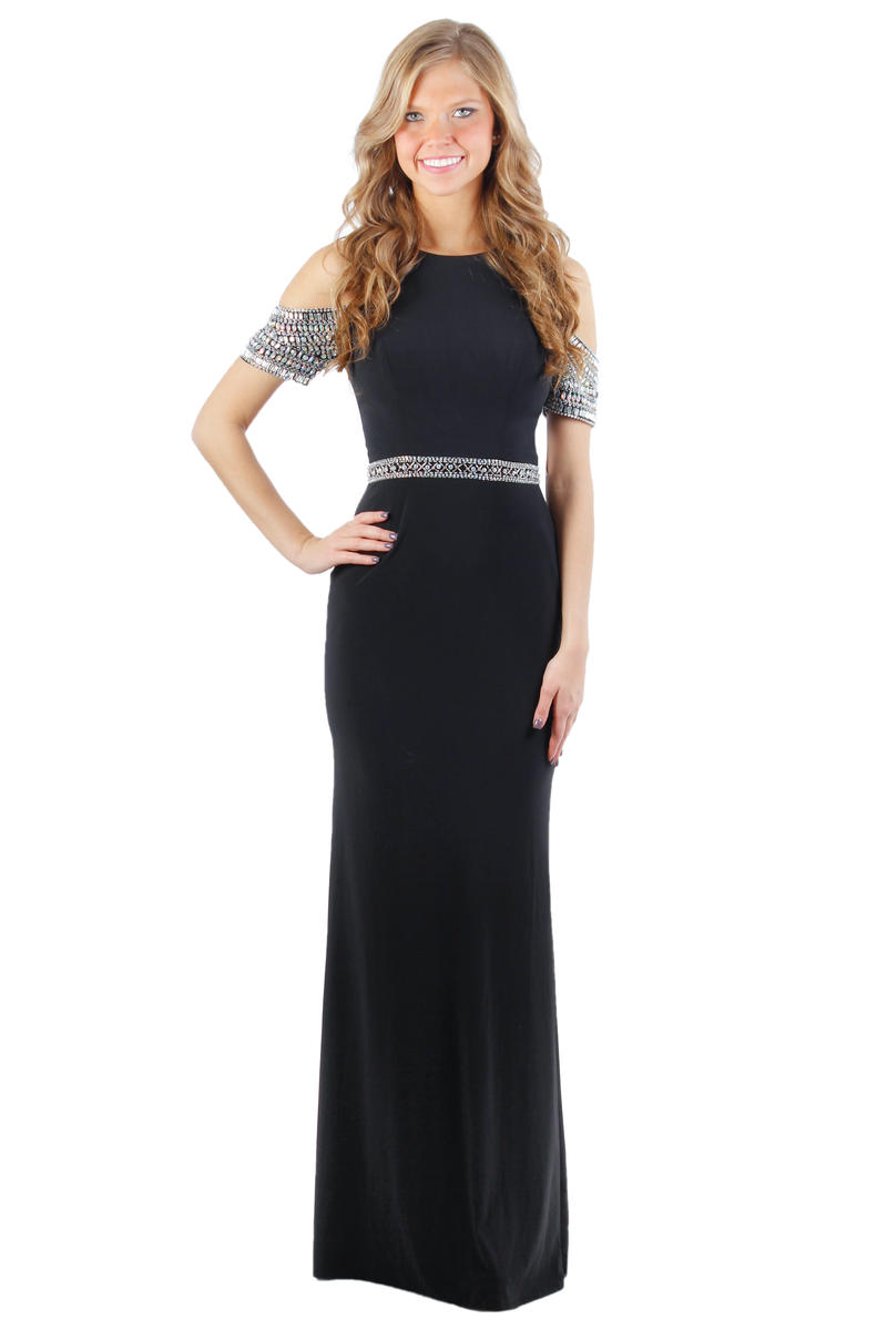 EJS  Couture - Jersey Gown Beaded Waist Open Short Sleeve
