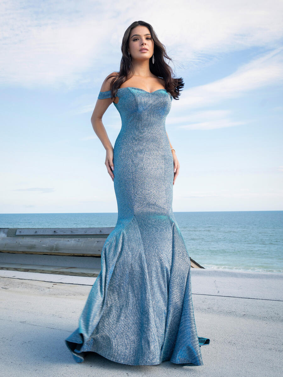 EJS  Couture - Off the Shoulder Iridescent Gown