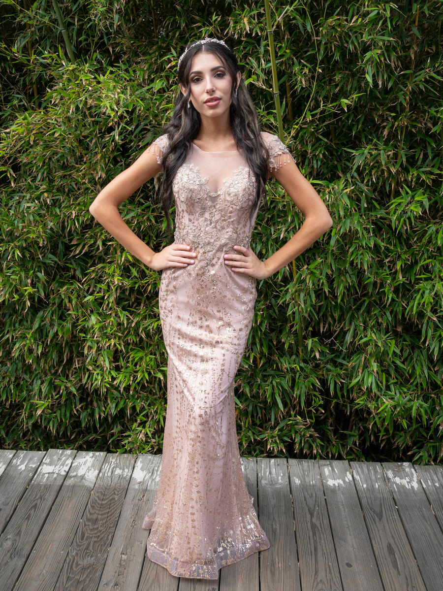EJS  Couture - Short Sleeve Sheer Glitter Gown