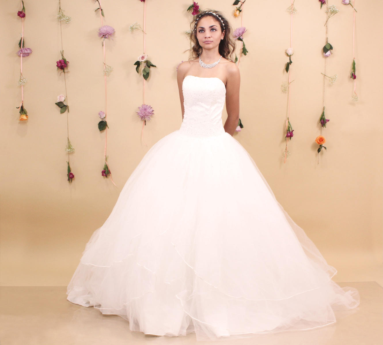 EJS  Couture - Strapless Beaded Tulle Ball Gown