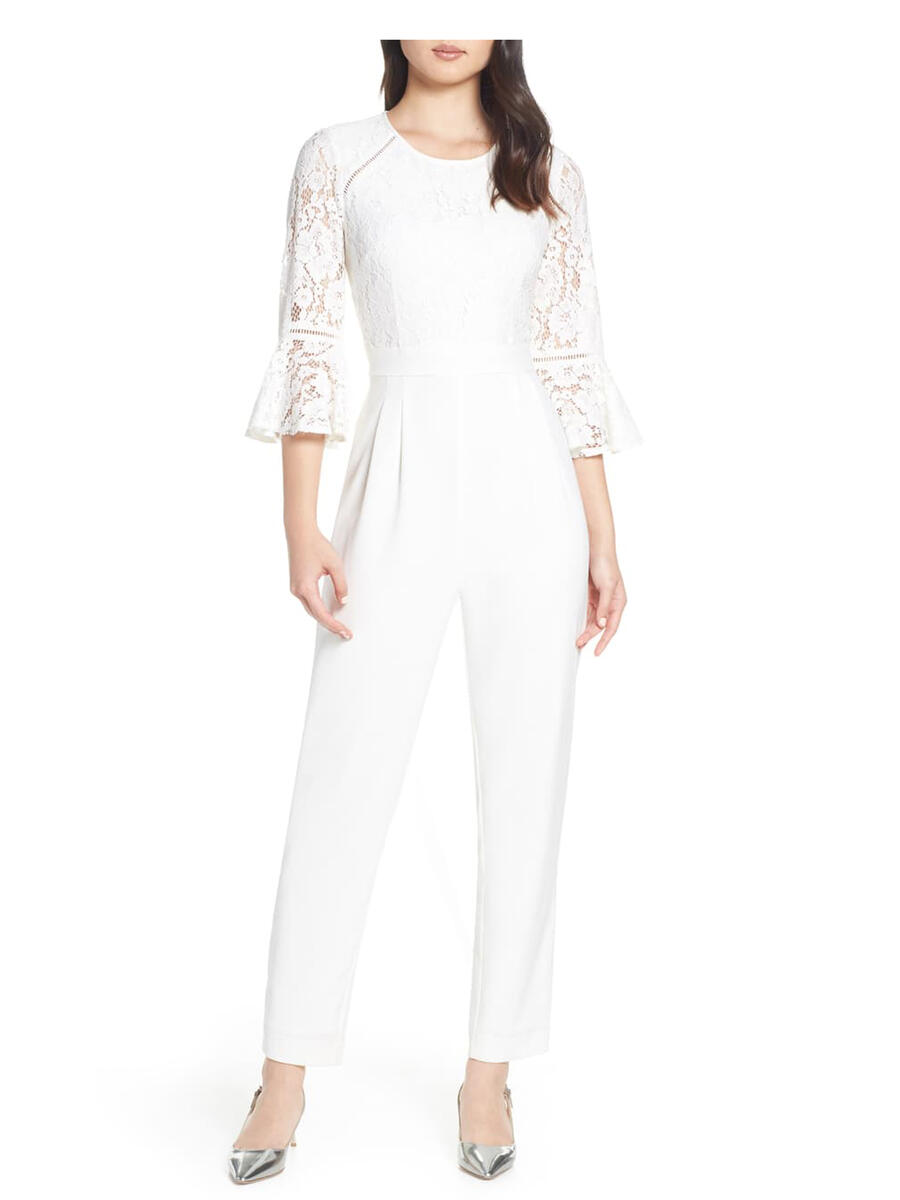 ELIZA J LIMITED - Long Sleeve Jumpsuit-Lace Bodice