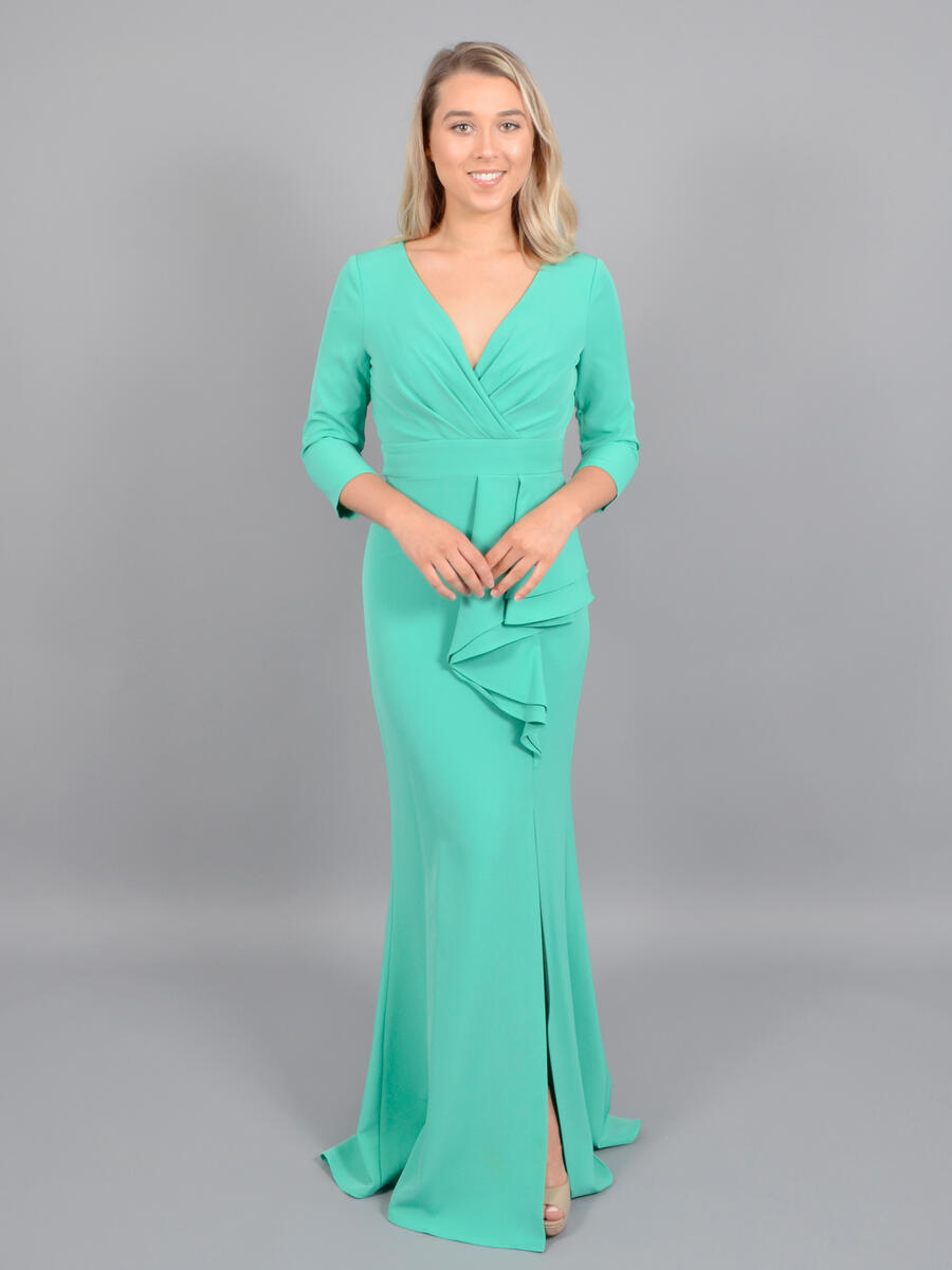 ELIZA J LIMITED - Long Sleeve Satin Wrap Waist Gown