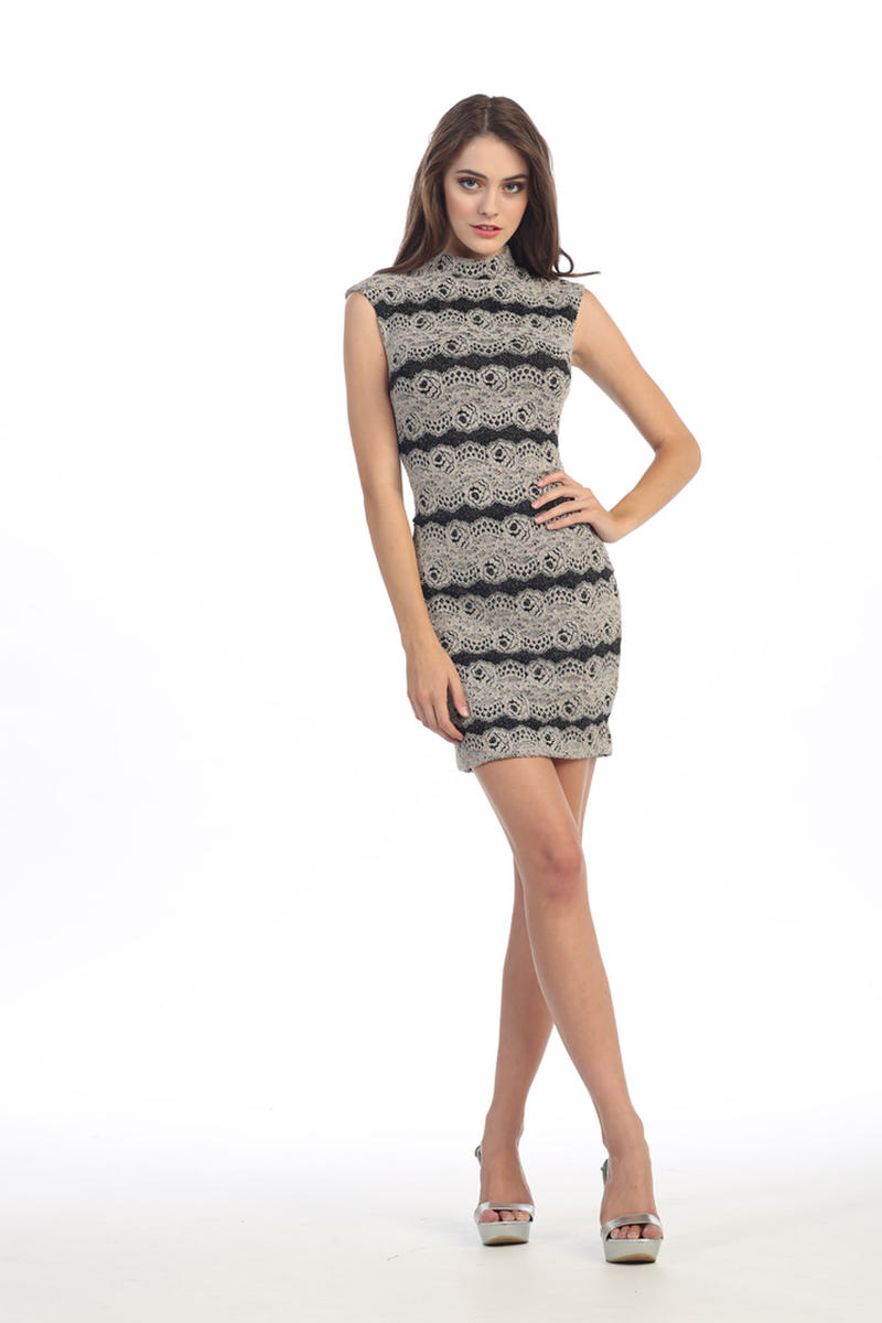 Fashion Eureka - Short Metallic Lace High Neck Dress