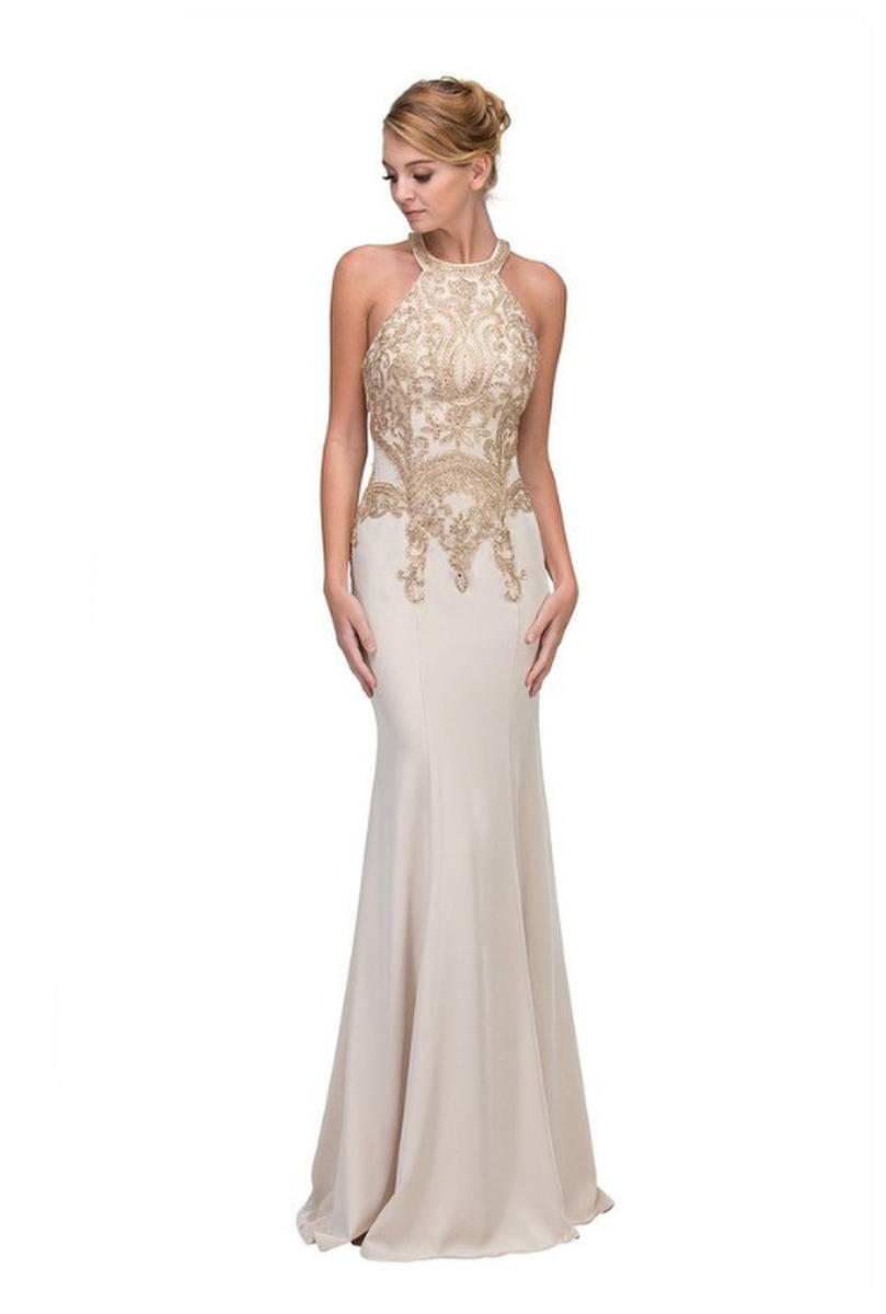 Fashion Eureka - Embroidered Halter Neck Jersey Gown