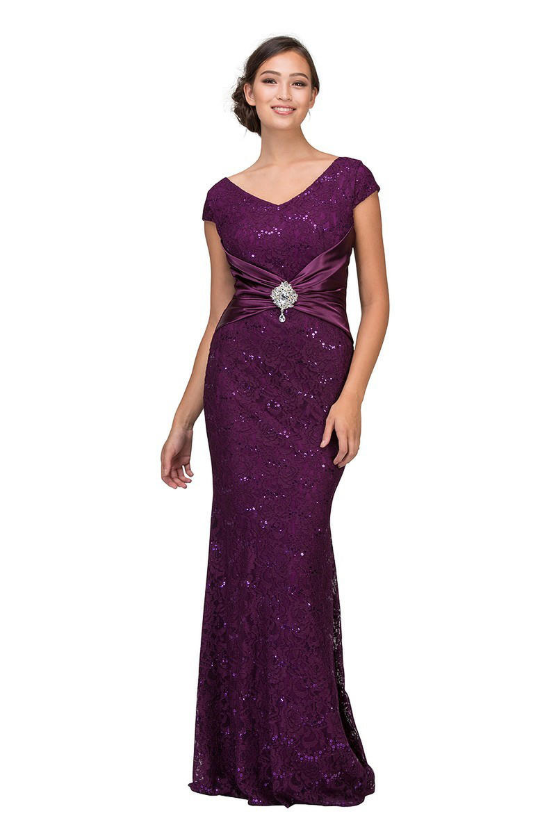 Fashion Eureka - Metallic Lace Cap Sleeve Gown