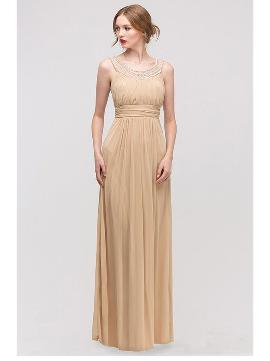 Fashion Eureka - Pleated Pearl Neck Chiffon Gown
