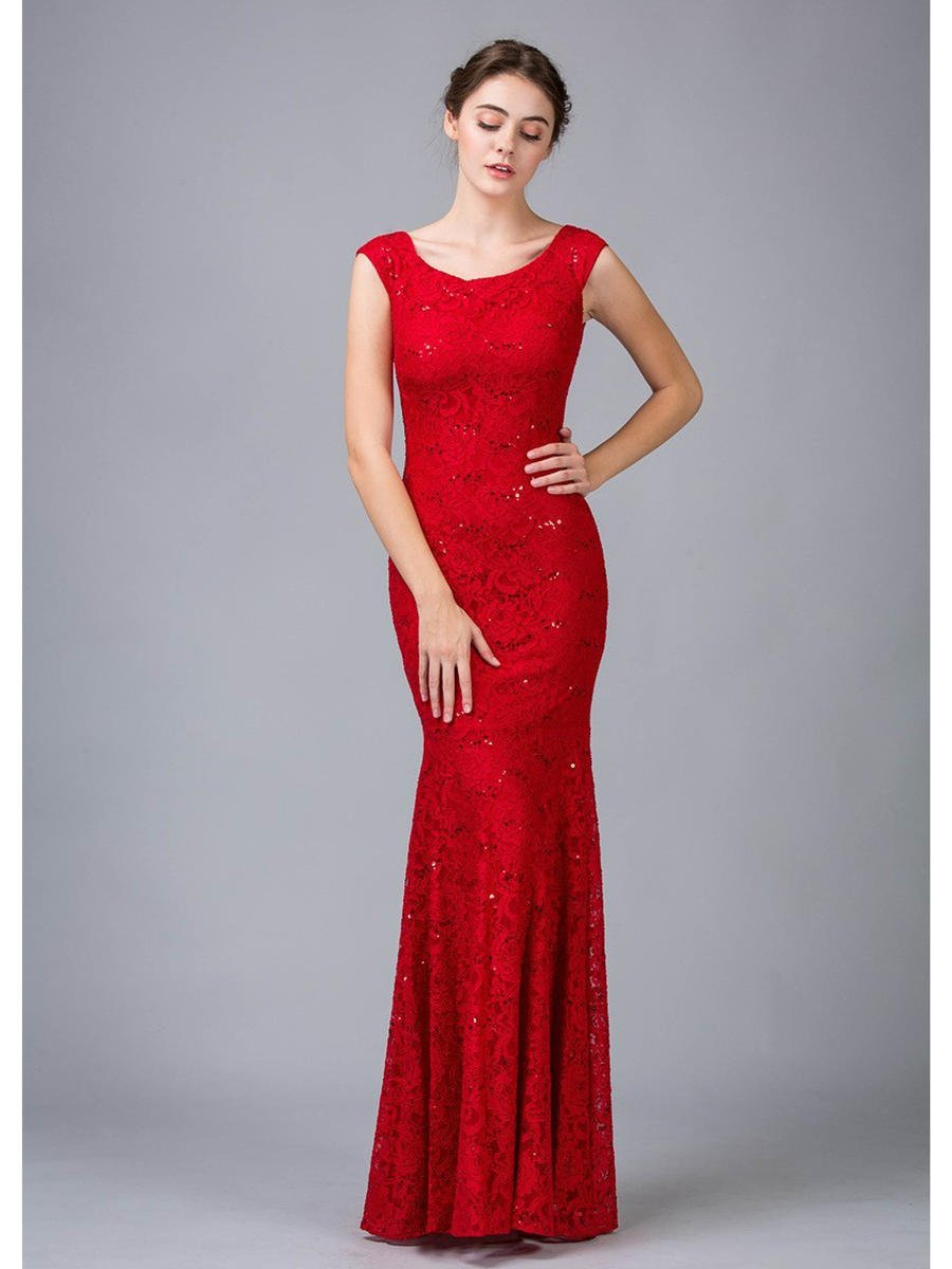 Fashion Eureka - All Over Sequin Lace Scoop Neck Gown