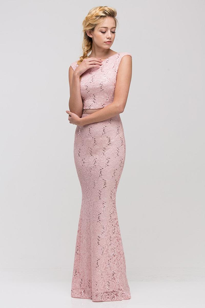 Fashion Eureka - Lace Sheer Waist Mermaid Gown