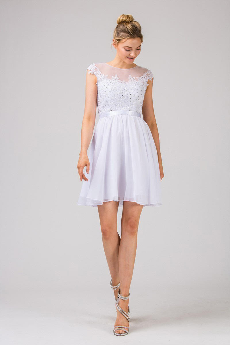Fashion Eureka - Chiffon Dress Sheer Lace Bodice-Shawl