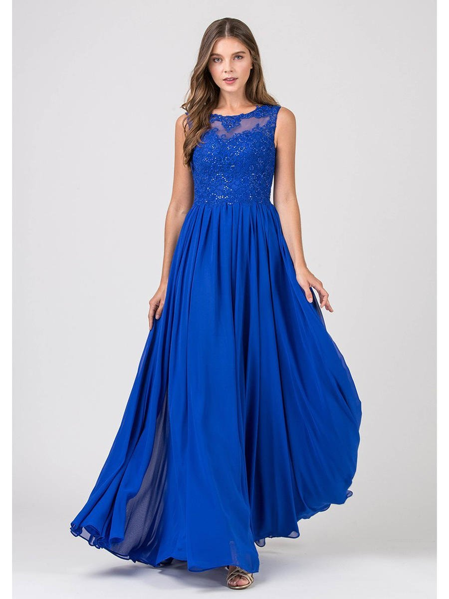 Fashion Eureka - Chiffon Gown Lace Sequin Bodice