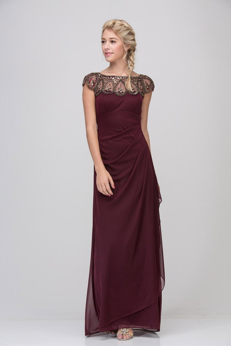 Fashion Eureka - Beaded Bateau Neck Faux-Wrap Gown