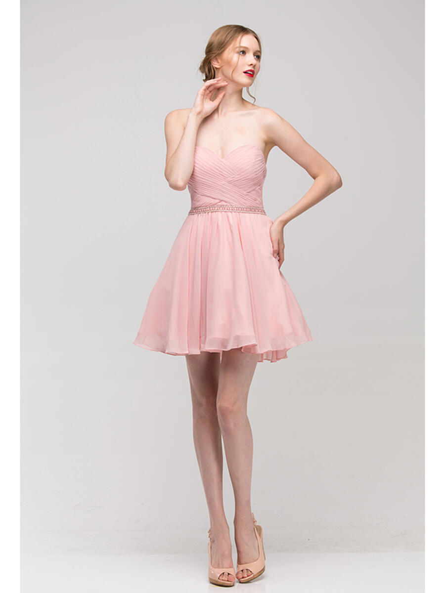 Fashion Eureka - Strapless Pleated Chiffon Dress