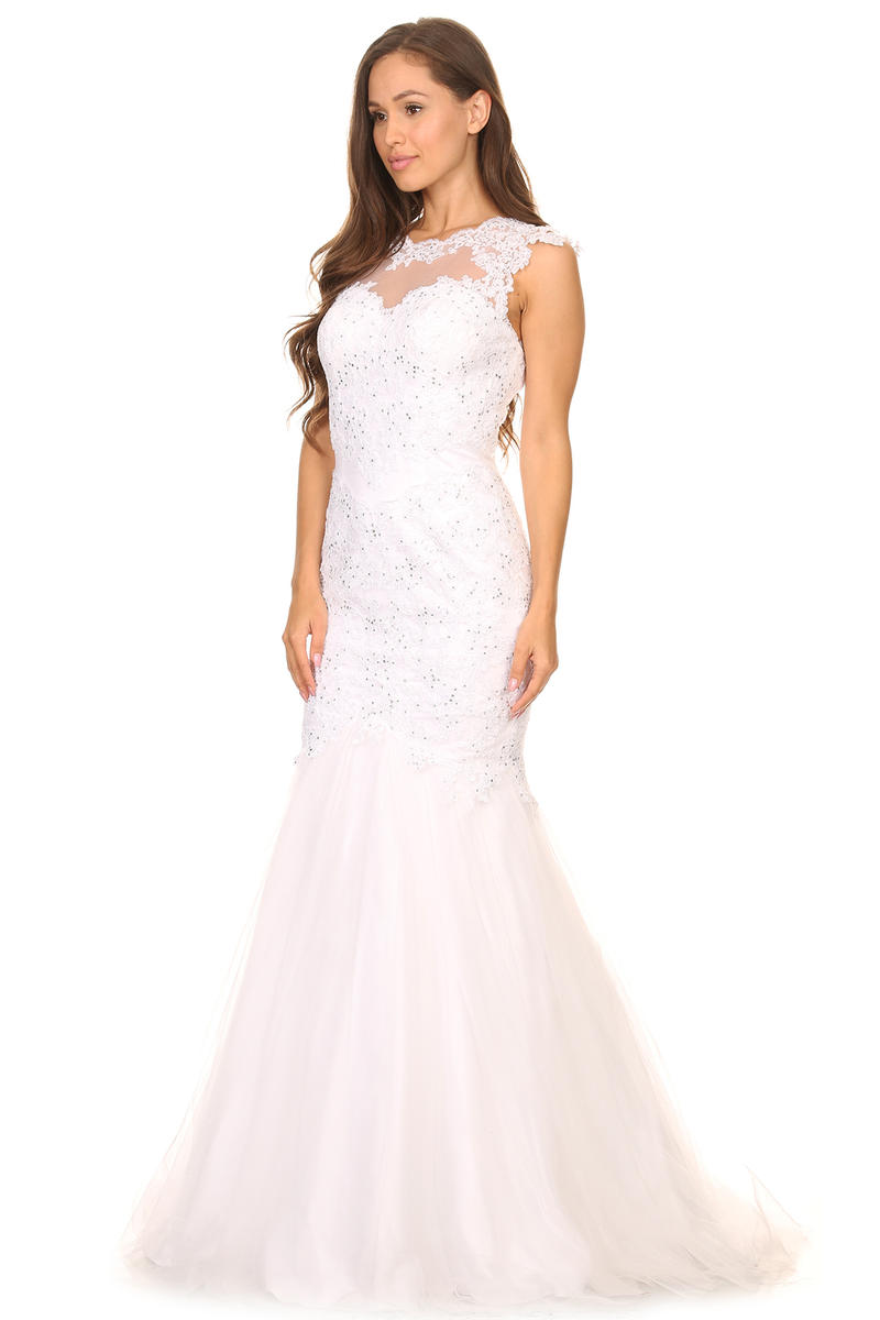 Fashion Eureka - Illusion Lace Mermaid Bridal Gown